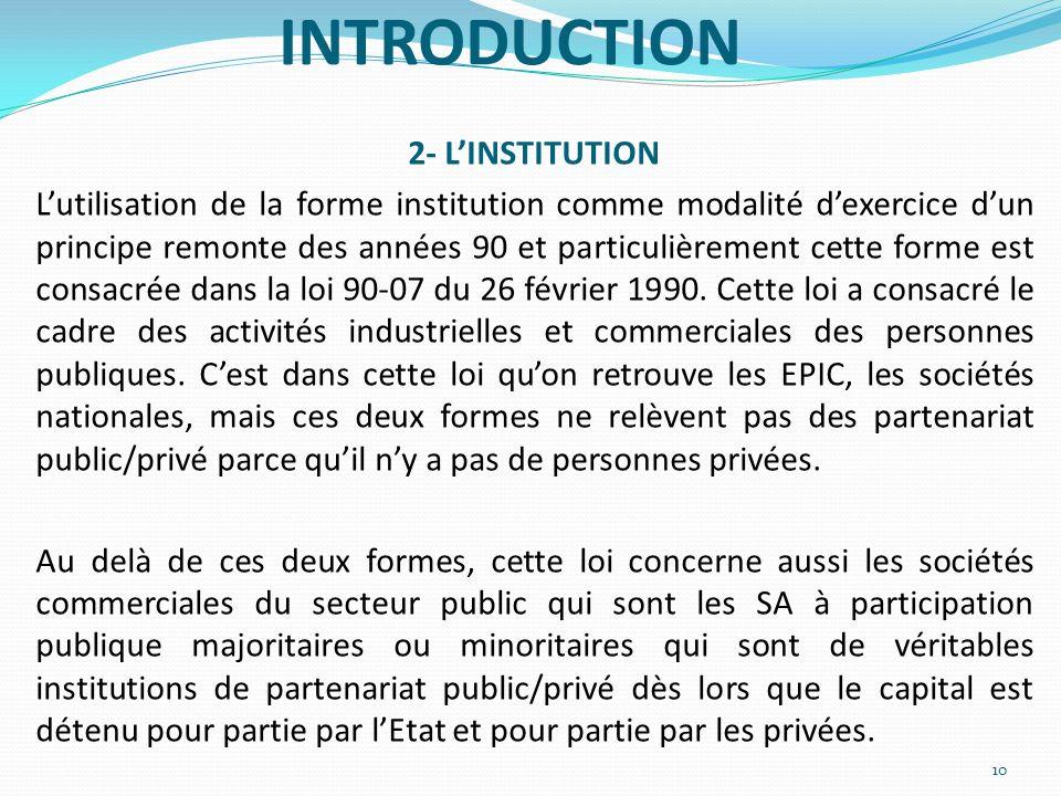 INTRODUCTION 2- LINSTITUTION Lutilisation de la forme institution comme modalité dexercice dun principe remonte des années 90 et particulièrement cett