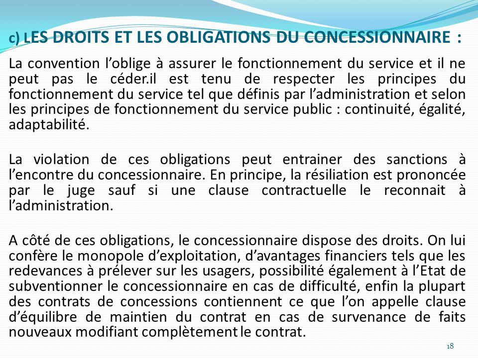 c) L ES DROITS ET LES OBLIGATIONS DU CONCESSIONNAIRE : La convention loblige à assurer le fonctionnement du service et il ne peut pas le céder.il est