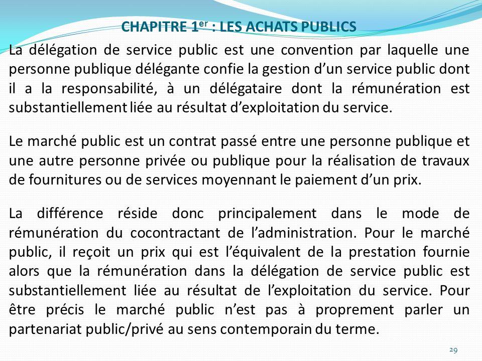 CHAPITRE 1 er : LES ACHATS PUBLICS La délégation de service public est une convention par laquelle une personne publique délégante confie la gestion d
