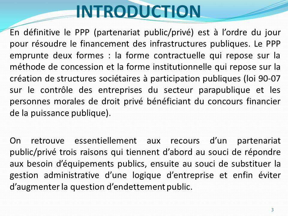 INTRODUCTION En définitive le PPP (partenariat public/privé) est à lordre du jour pour résoudre le financement des infrastructures publiques. Le PPP e