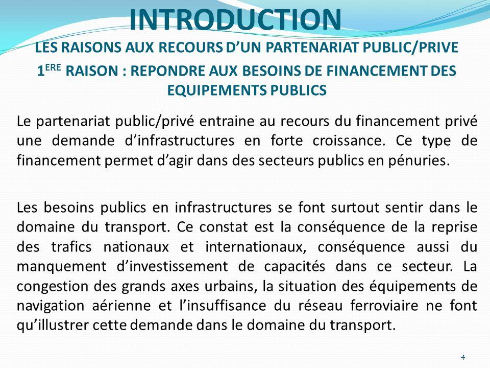 INTRODUCTION LES RAISONS AUX RECOURS DUN PARTENARIAT PUBLIC/PRIVE 1 ERE RAISON : REPONDRE AUX BESOINS DE FINANCEMENT DES EQUIPEMENTS PUBLICS Le parten