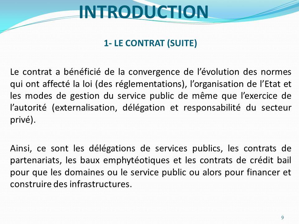 INTRODUCTION 1- LE CONTRAT (SUITE) Le contrat a bénéficié de la convergence de lévolution des normes qui ont affecté la loi (des réglementations), lor