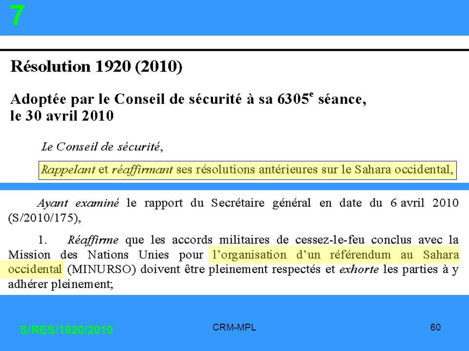 CRM-MPL60 S/RES/1920/2010 7