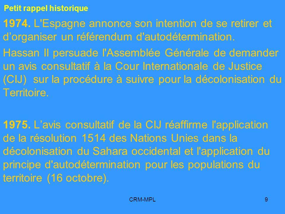 CRM-MPL40 5 Le peuple du Sahara occidental « a le droit à lautodétermination» Quinze énoncés de base sur le conflit du Sahara occidental A/RES/2229_1966 A/RES/3458-A_1975 A/RES/3458-B_1975 A/RES/33-31_1978 A/RES/34-37_1979 A/RES/35-19_1980 A/RES/64/101_2010 A/RES/65/112_2011 S/RES/1871_2009 S/RES/1920_2010