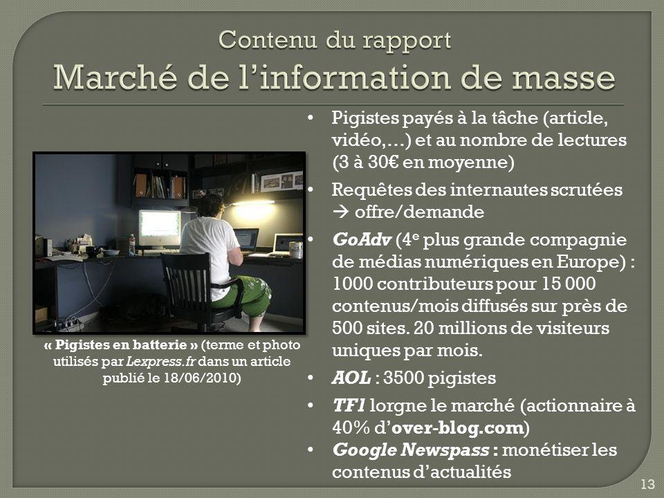 « Pigistes en batterie » (terme et photo utilisés par Lexpress.fr dans un article publié le 18/06/2010) Pigistes payés à la tâche (article, vidéo,…) et au nombre de lectures (3 à 30 en moyenne) Requêtes des internautes scrutées offre/demande GoAdv (4 e plus grande compagnie de médias numériques en Europe) : 1000 contributeurs pour 15 000 contenus/mois diffusés sur près de 500 sites.
