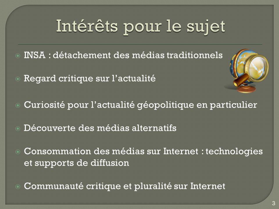 INSA : détachement des médias traditionnels Regard critique sur lactualité Curiosité pour lactualité géopolitique en particulier Découverte des médias alternatifs Consommation des médias sur Internet : technologies et supports de diffusion Communauté critique et pluralité sur Internet 3