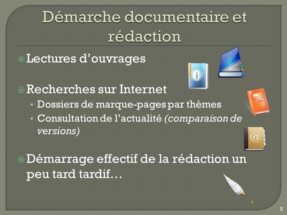 Lectures douvrages Recherches sur Internet Dossiers de marque-pages par thèmes Consultation de lactualité (comparaison de versions) Démarrage effectif de la rédaction un peu tard tardif… 5
