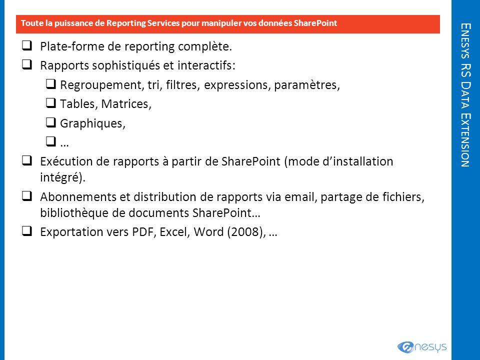 E NESYS RS D ATA E XTENSION Toute la puissance de Reporting Services pour manipuler vos données SharePoint Plate-forme de reporting complète. Rapports