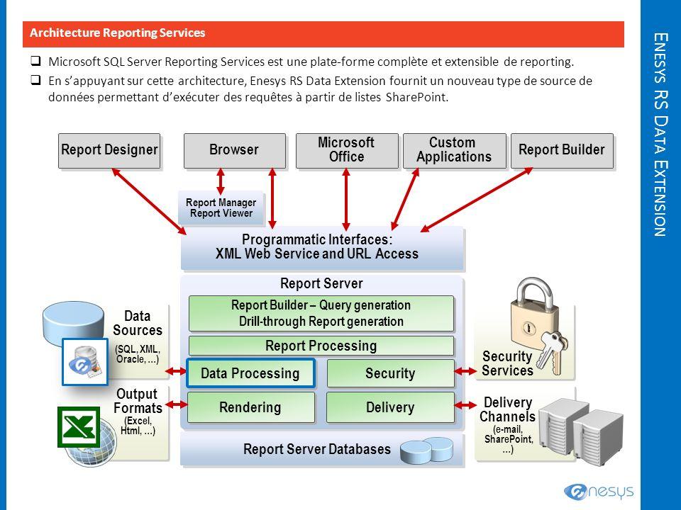E NESYS RS D ATA E XTENSION Microsoft SQL Server Reporting Services est une plate-forme complète et extensible de reporting. En sappuyant sur cette ar