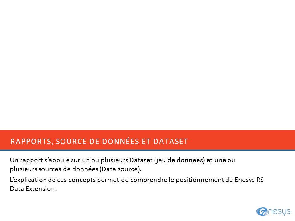 RAPPORTS, SOURCE DE DONNÉES ET DATASET Un rapport sappuie sur un ou plusieurs Dataset (jeu de données) et une ou plusieurs sources de données (Data so