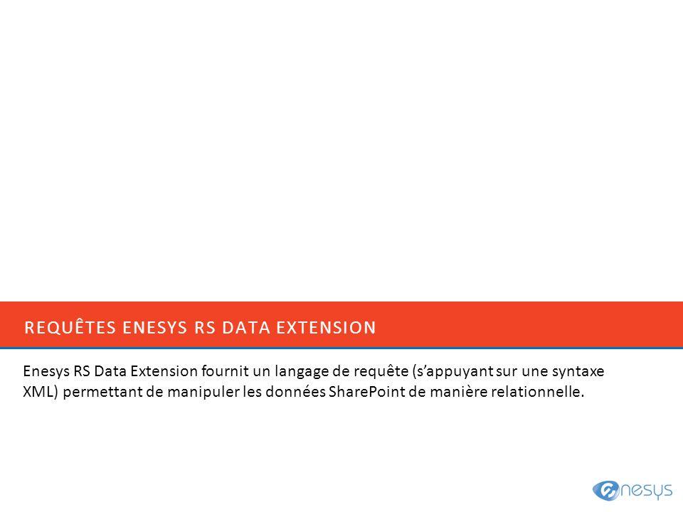 REQUÊTES ENESYS RS DATA EXTENSION Enesys RS Data Extension fournit un langage de requête (sappuyant sur une syntaxe XML) permettant de manipuler les d
