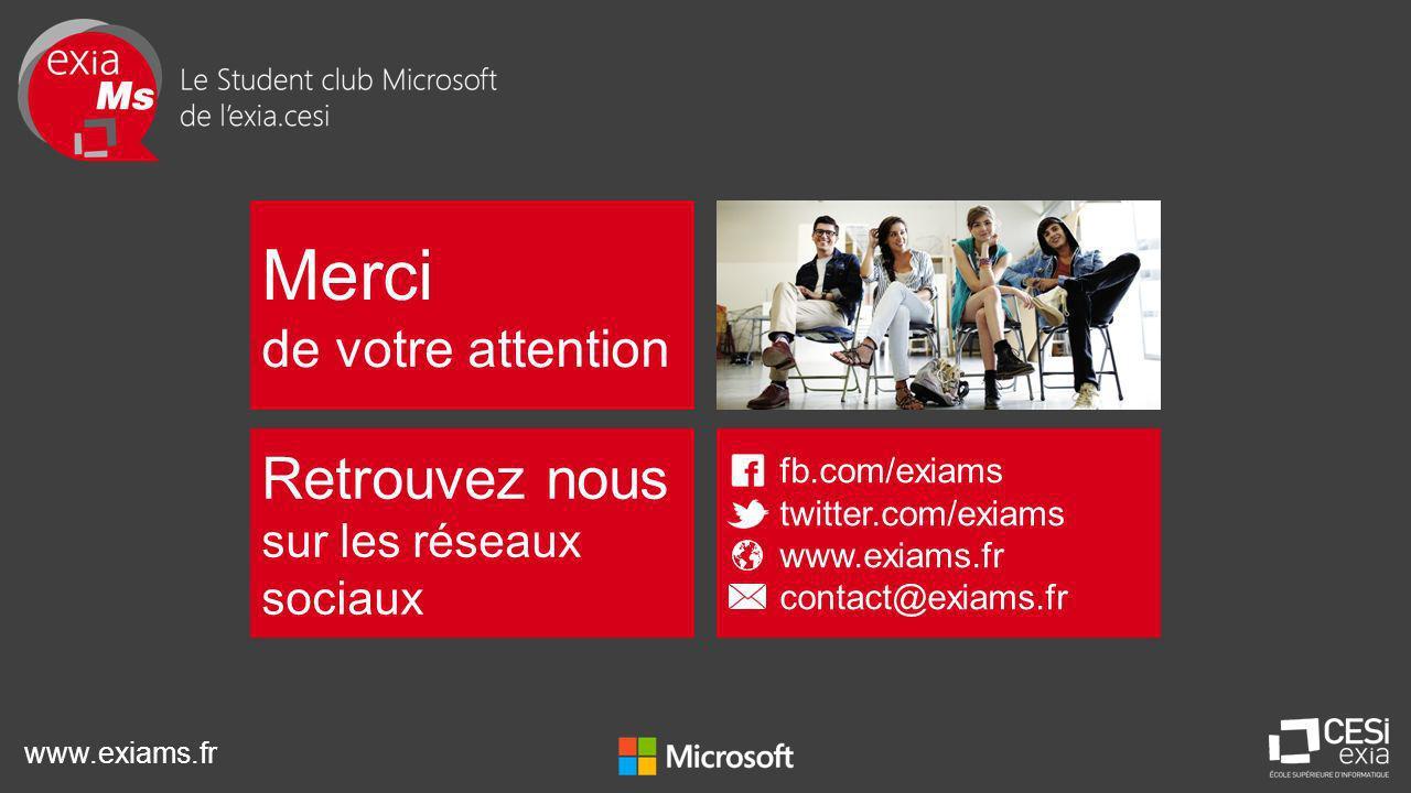 www.exiams.fr Merci de votre attention Retrouvez nous sur les réseaux sociaux fb.com/exiams twitter.com/exiams www.exiams.fr contact@exiams.fr