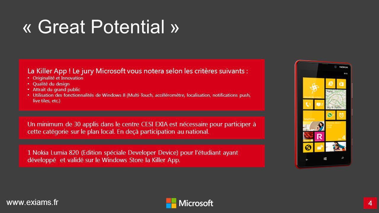 www.exiams.fr « Great Potential » 4 La Killer App ! Le jury Microsoft vous notera selon les critères suivants : Originalité et Innovation Qualité du d
