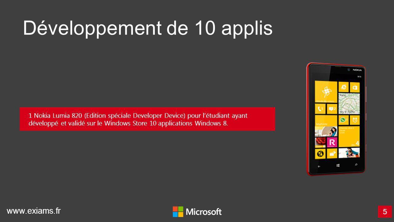 www.exiams.fr Développement de 10 applis 5 1 Nokia Lumia 820 (Edition spéciale Developer Device) pour létudiant ayant développé et validé sur le Windo