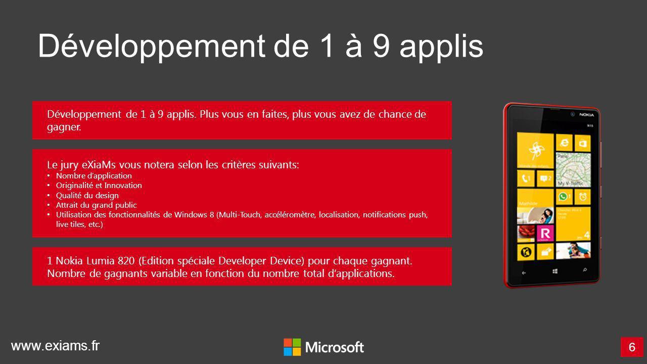 www.exiams.fr Développement de 1 à 9 applis 6 1 Nokia Lumia 820 (Edition spéciale Developer Device) pour chaque gagnant. Nombre de gagnants variable e