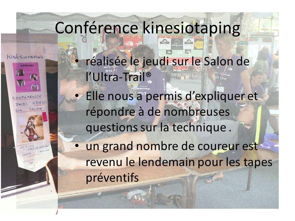 Conférence kinesiotaping réalisée le jeudi sur le Salon de lUltra-Trail® Elle nous a permis dexpliquer et répondre à de nombreuses questions sur la technique.