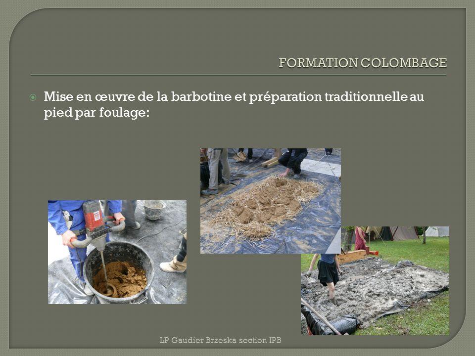 Mise en œuvre de la barbotine et préparation traditionnelle au pied par foulage: LP Gaudier Brzeska section IPB