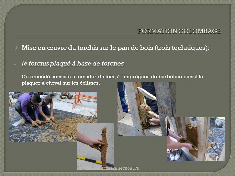 Mise en œuvre du torchis sur le pan de bois (trois techniques): - le torchis plaqué à base de torches Ce procédé consiste à torsader du foin, à l'impr