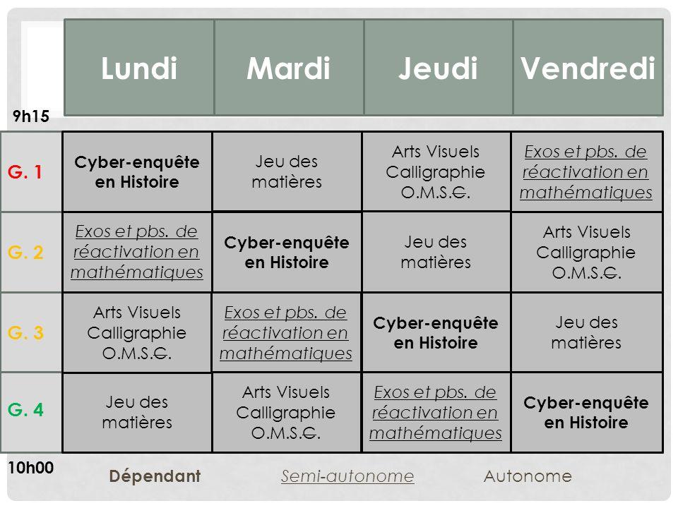 G.4 G. 3 G. 2 G. 1 LundiMardiJeudiVendredi Cyber-enquête en Histoire Exos et pbs.