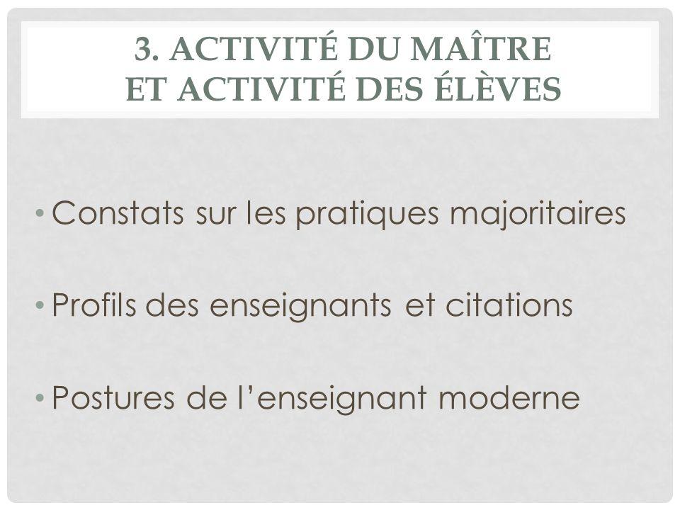 3. ACTIVITÉ DU MAÎTRE ET ACTIVITÉ DES ÉLÈVES Constats sur les pratiques majoritaires Profils des enseignants et citations Postures de lenseignant mode