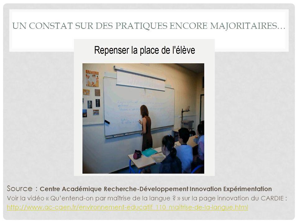 UN CONSTAT SUR DES PRATIQUES ENCORE MAJORITAIRES… Source : Centre Académique Recherche-Développement Innovation Expérimentation Voir la vidéo « Quentend-on par maîtrise de la langue .