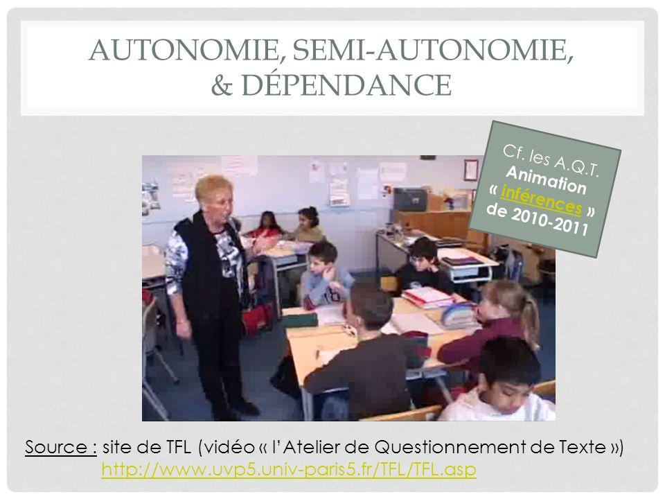 AUTONOMIE, SEMI-AUTONOMIE, & DÉPENDANCE Cf.les A.Q.T.