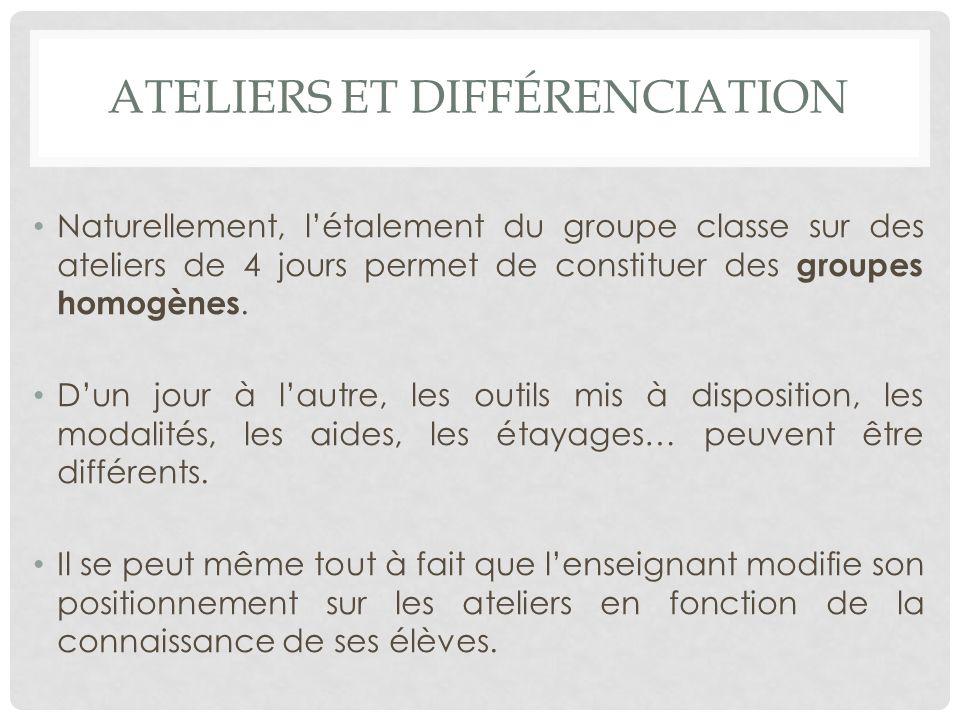 ATELIERS ET DIFFÉRENCIATION Naturellement, létalement du groupe classe sur des ateliers de 4 jours permet de constituer des groupes homogènes.
