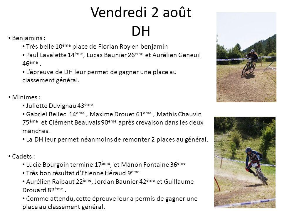 Vendredi 2 août DH Benjamins : Très belle 10 ème place de Florian Roy en benjamin Paul Lavalette 14 ème, Lucas Baunier 26 ème et Aurélien Geneuil 46 è