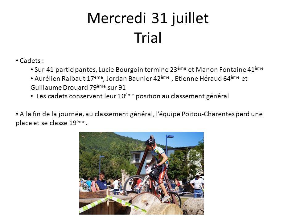Mercredi 31 juillet Trial Cadets : Sur 41 participantes, Lucie Bourgoin termine 23 ème et Manon Fontaine 41 ème Aurélien Raibaut 17 ème, Jordan Baunie