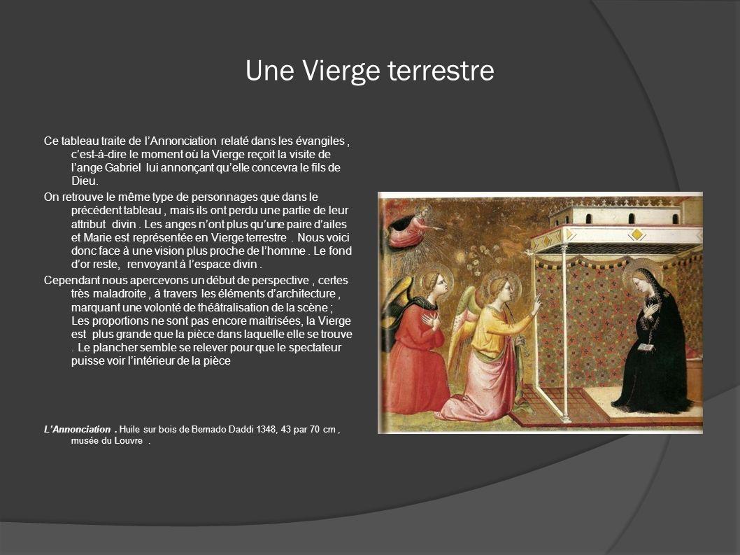 Une Vierge terrestre Ce tableau traite de lAnnonciation relaté dans les évangiles, cest-à-dire le moment où la Vierge reçoit la visite de lange Gabrie