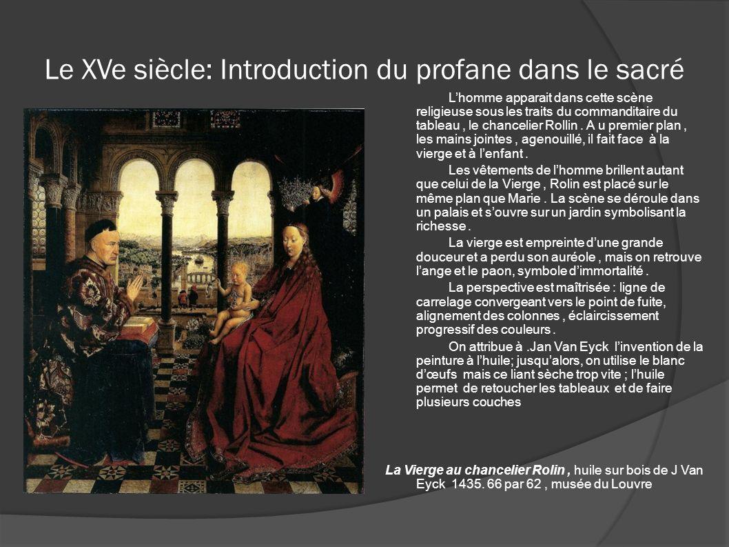 Le XVe siècle: Introduction du profane dans le sacré Lhomme apparait dans cette scène religieuse sous les traits du commanditaire du tableau, le chanc