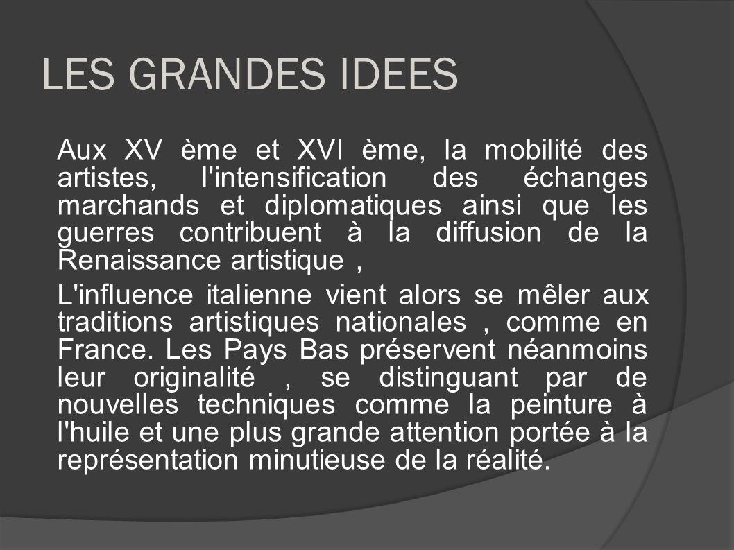 LES GRANDES IDEES Aux XV ème et XVI ème, la mobilité des artistes, l'intensification des échanges marchands et diplomatiques ainsi que les guerres con