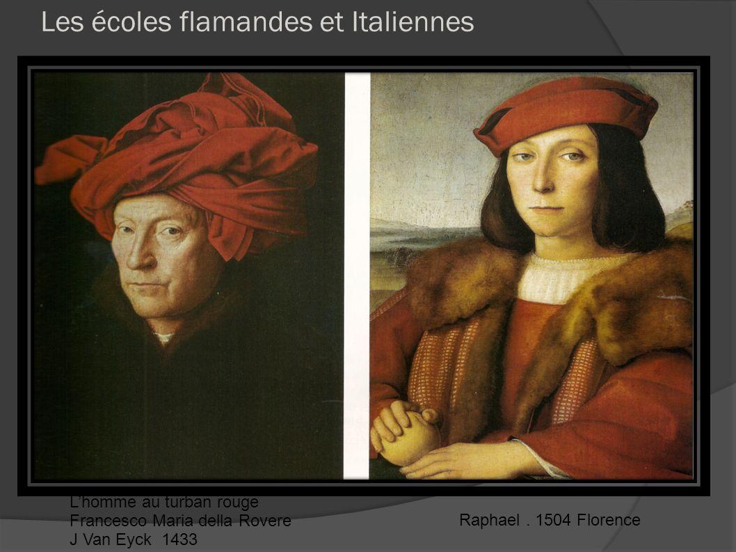 Les écoles flamandes et Italiennes Lhomme au turban rouge Francesco Maria della Rovere J Van Eyck 1433 Raphael. 1504 Florence