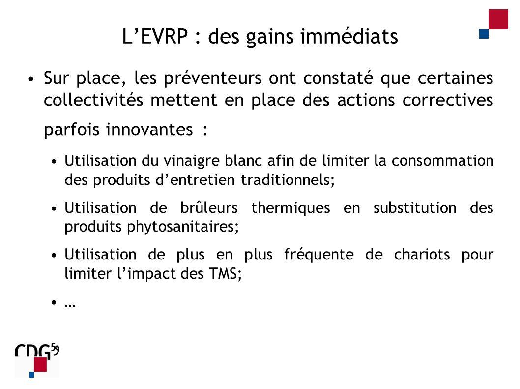 LEVRP : des gains immédiats Sur place, les préventeurs ont constaté que certaines collectivités mettent en place des actions correctives parfois innov