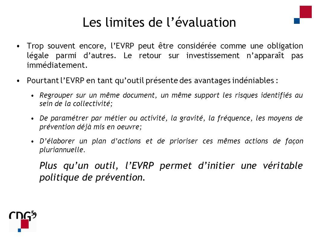 Les limites de lévaluation Trop souvent encore, lEVRP peut être considérée comme une obligation légale parmi dautres. Le retour sur investissement nap