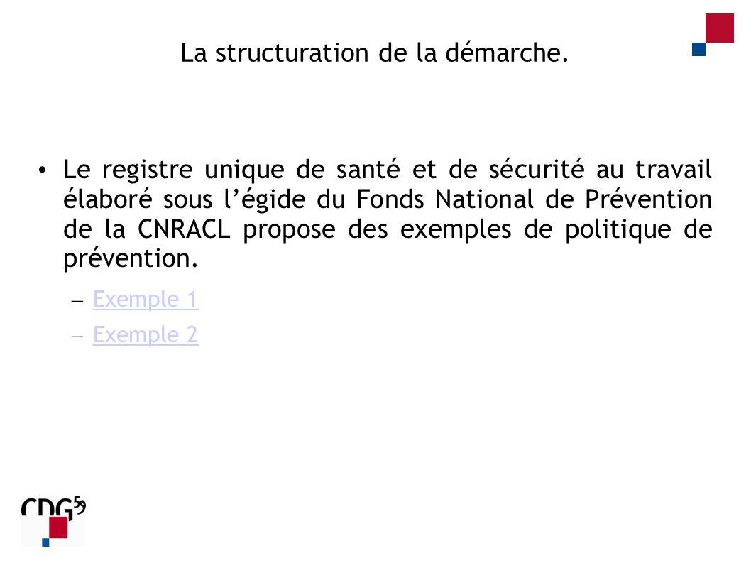La structuration de la démarche. Le registre unique de santé et de sécurité au travail élaboré sous légide du Fonds National de Prévention de la CNRAC