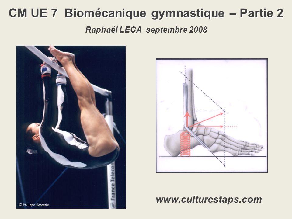 CM UE 7 Biomécanique gymnastique – Partie 2 Raphaël LECA septembre 2008 www.culturestaps.com