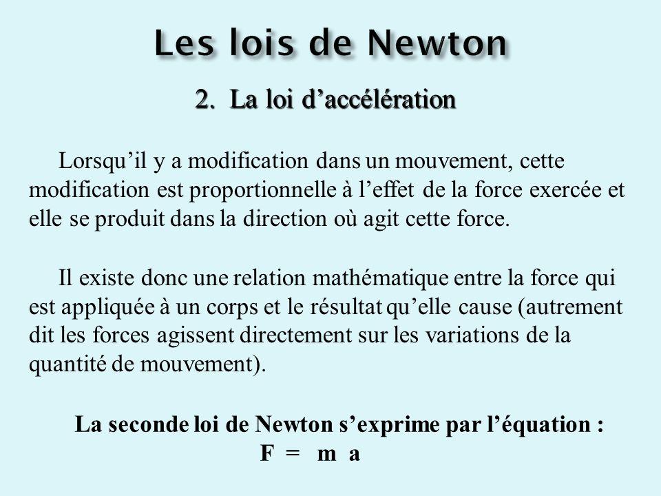 2. La loi daccélération Lorsquil y a modification dans un mouvement, cette modification est proportionnelle à leffet de la force exercée et elle se pr