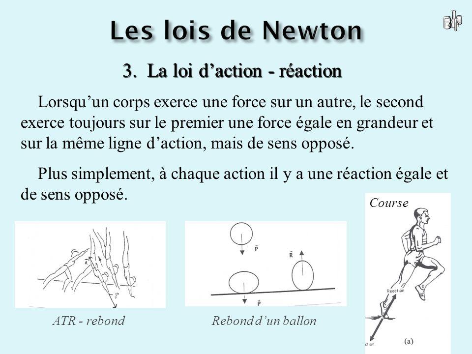 3. La loi daction - réaction Lorsquun corps exerce une force sur un autre, le second exerce toujours sur le premier une force égale en grandeur et sur