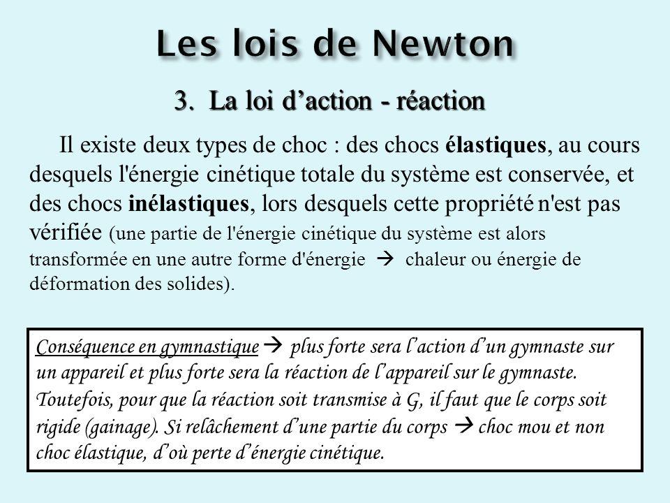 3. La loi daction - réaction Il existe deux types de choc : des chocs élastiques, au cours desquels l'énergie cinétique totale du système est conservé