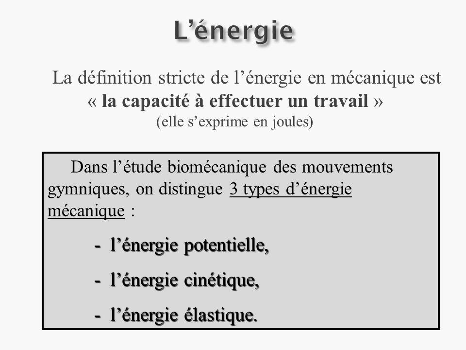 La définition stricte de lénergie en mécanique est « la capacité à effectuer un travail » (elle sexprime en joules) Dans létude biomécanique des mouvements gymniques, on distingue 3 types dénergie mécanique : - lénergie potentielle, - lénergie cinétique, - lénergie élastique.