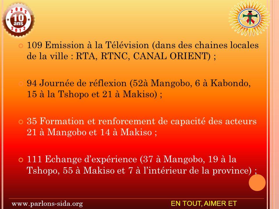 109 Emission à la Télévision (dans des chaines locales de la ville : RTA, RTNC, CANAL ORIENT) ; 94 Journée de réflexion (52à Mangobo, 6 à Kabondo, 15 à la Tshopo et 21 à Makiso) ; 35 Formation et renforcement de capacité des acteurs 21 à Mangobo et 14 à Makiso ; 111 Echange dexpérience (37 à Mangobo, 19 à la Tshopo, 55 à Makiso et 7 à lintérieur de la province) ; www.parlons-sida.org EN TOUT, AIMER ET SERVIR