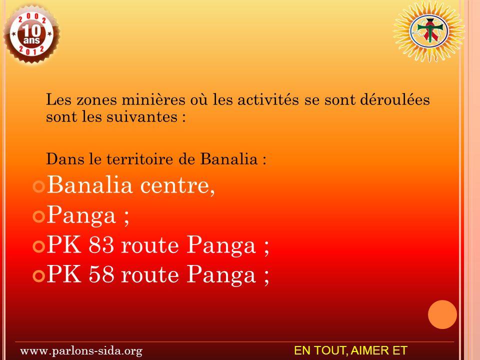 Les zones minières où les activités se sont déroulées sont les suivantes : Dans le territoire de Banalia : Banalia centre, Panga ; PK 83 route Panga ; PK 58 route Panga ; www.parlons-sida.org EN TOUT, AIMER ET SERVIR
