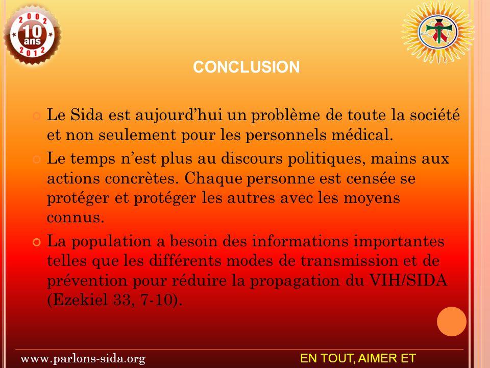 CONCLUSION Le Sida est aujourdhui un problème de toute la société et non seulement pour les personnels médical.