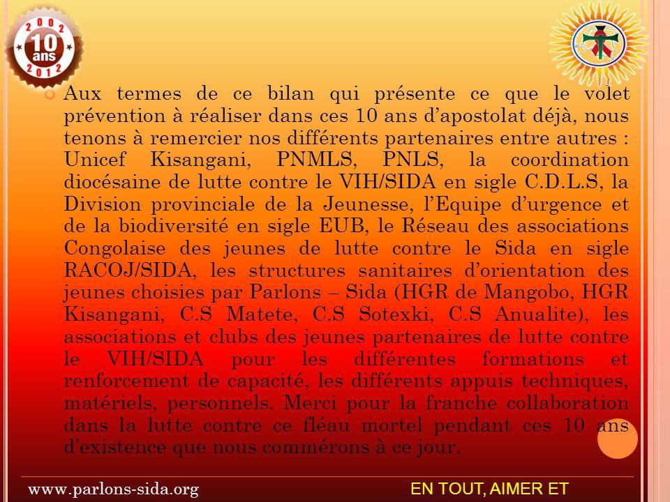 Aux termes de ce bilan qui présente ce que le volet prévention à réaliser dans ces 10 ans dapostolat déjà, nous tenons à remercier nos différents partenaires entre autres : Unicef Kisangani, PNMLS, PNLS, la coordination diocésaine de lutte contre le VIH/SIDA en sigle C.D.L.S, la Division provinciale de la Jeunesse, lEquipe durgence et de la biodiversité en sigle EUB, le Réseau des associations Congolaise des jeunes de lutte contre le Sida en sigle RACOJ/SIDA, les structures sanitaires dorientation des jeunes choisies par Parlons – Sida (HGR de Mangobo, HGR Kisangani, C.S Matete, C.S Sotexki, C.S Anualite), les associations et clubs des jeunes partenaires de lutte contre le VIH/SIDA pour les différentes formations et renforcement de capacité, les différents appuis techniques, matériels, personnels.