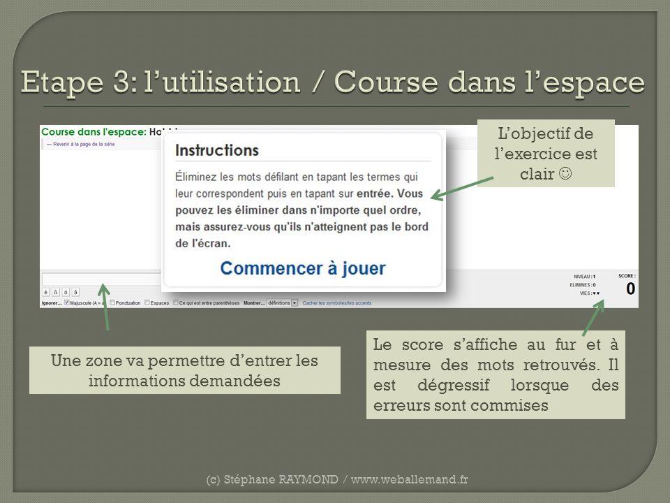 (c) Stéphane RAYMOND / www.weballemand.fr Une zone va permettre dentrer les informations demandées Le score saffiche au fur et à mesure des mots retro