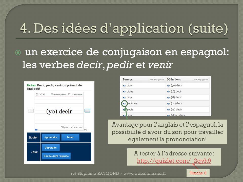 un exercice de conjugaison en espagnol: les verbes decir, pedir et venir (c) Stéphane RAYMOND / www.weballemand.fr A tester à ladresse suivante: http: