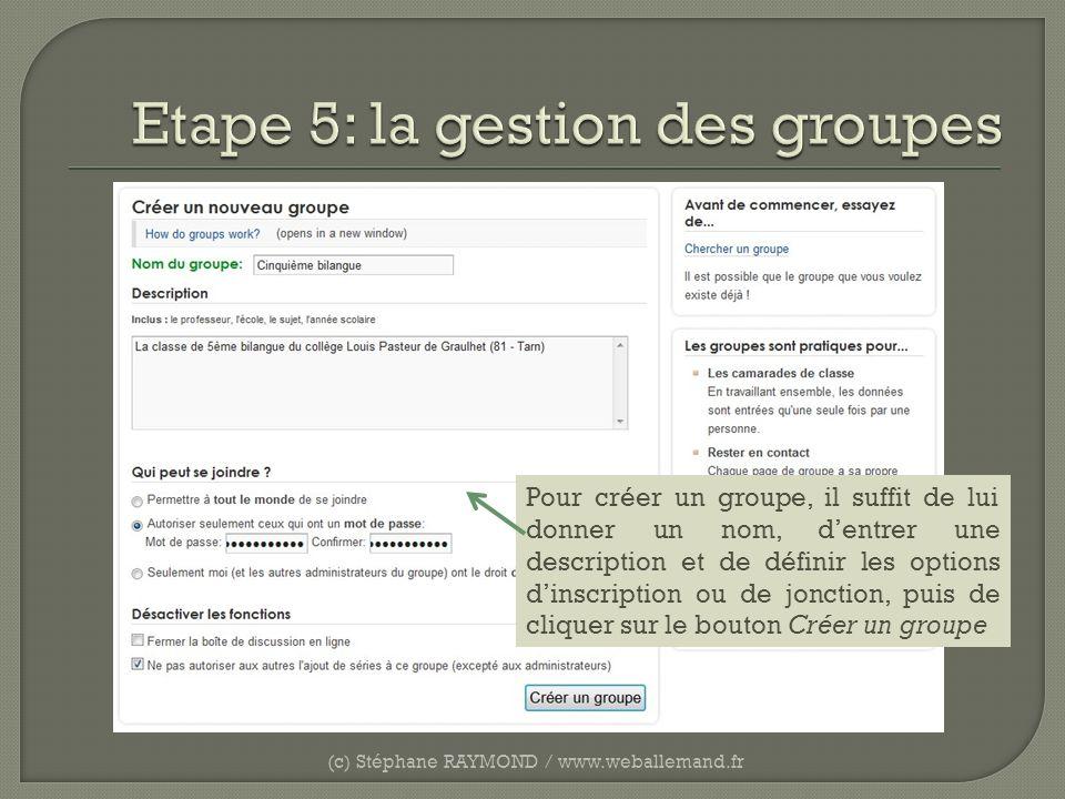 (c) Stéphane RAYMOND / www.weballemand.fr Pour créer un groupe, il suffit de lui donner un nom, dentrer une description et de définir les options dins