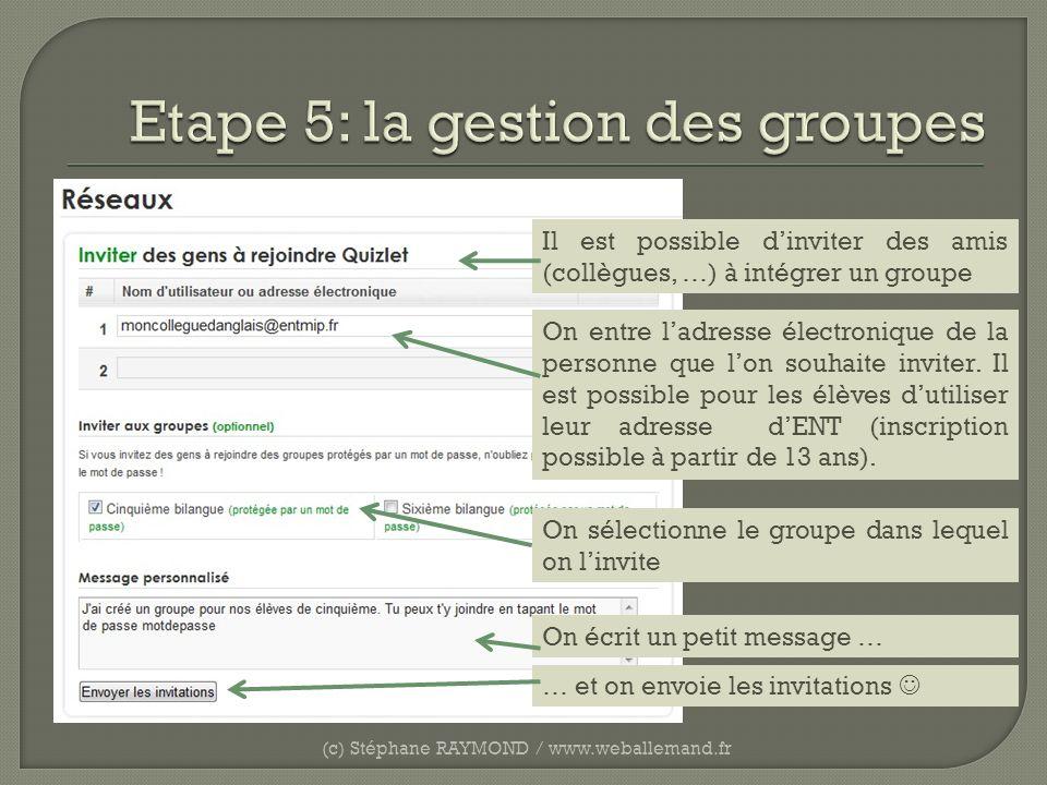 (c) Stéphane RAYMOND / www.weballemand.fr Il est possible dinviter des amis (collègues, …) à intégrer un groupe On entre ladresse électronique de la p