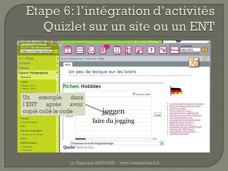 (c) Stéphane RAYMOND / www.weballemand.fr Un exemple dans lENT après avoir copié collé le code